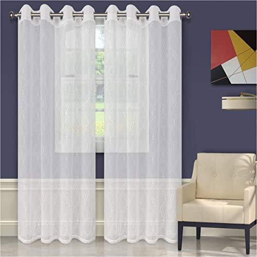 Superior Quality Lightweight Embroidered Imperial Trellis Sheer Stainless Grommets Window Treatment Curtain Panel Set of 2 52 x 108 – White