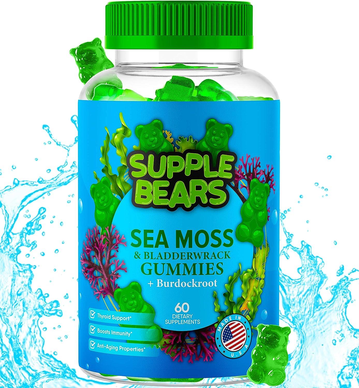 SuppleBears Irish Sea Moss & Apple Cider Vinegar Gummies - Burdock Root + Bladderwrack - 102 Minerals for Daily Wellness & Nutrient Support - Kids & Adults - 60 Gummies - Made in The USA