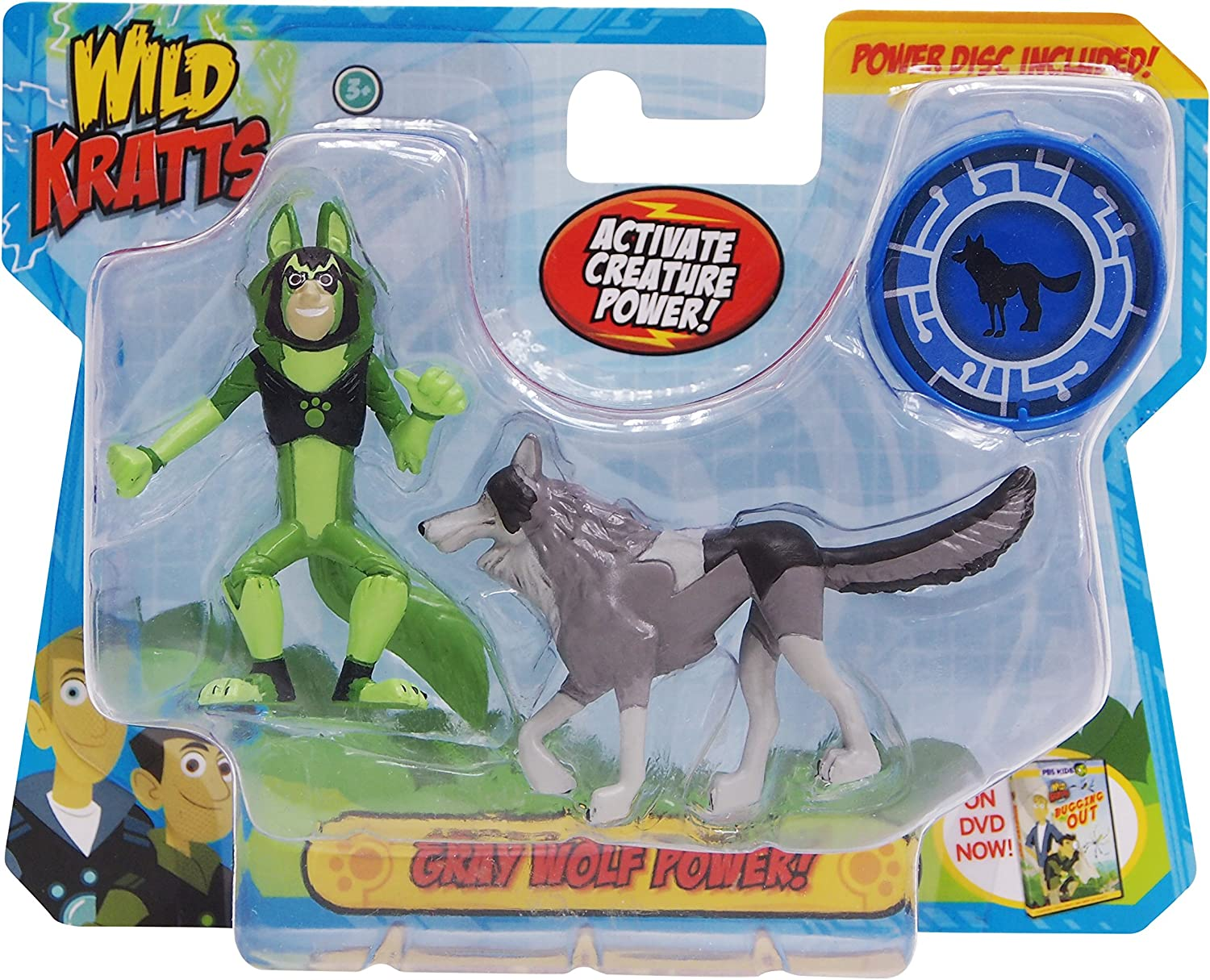 Wild Kratts Toys - 2 Pack Creature Power Action Figure Set - Gray Wolf Power