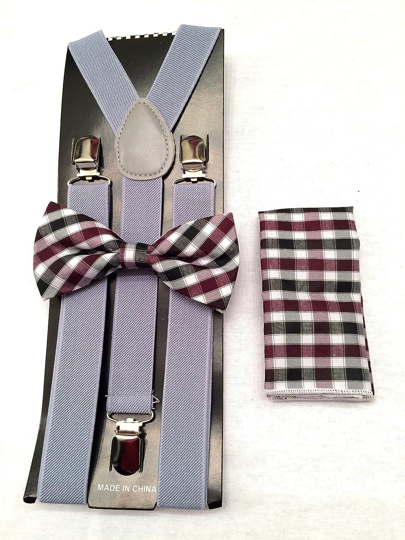 Suspenders Grey Unisexs Plaid Bow tie /& Suspender Sets /…