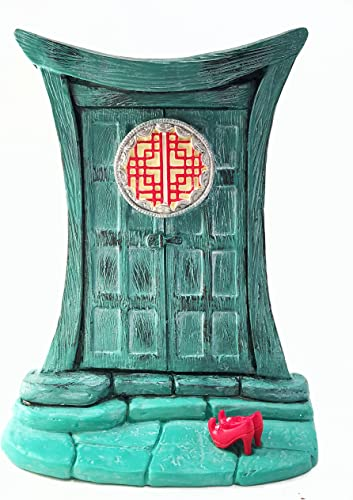 Miniature Zen Fairy Door for Miniature Garden Fairies and Gnomes – Beautiful Turquoise Asian-Style Zen Fairy Miniature Door with Removable Red Fairy Shoes