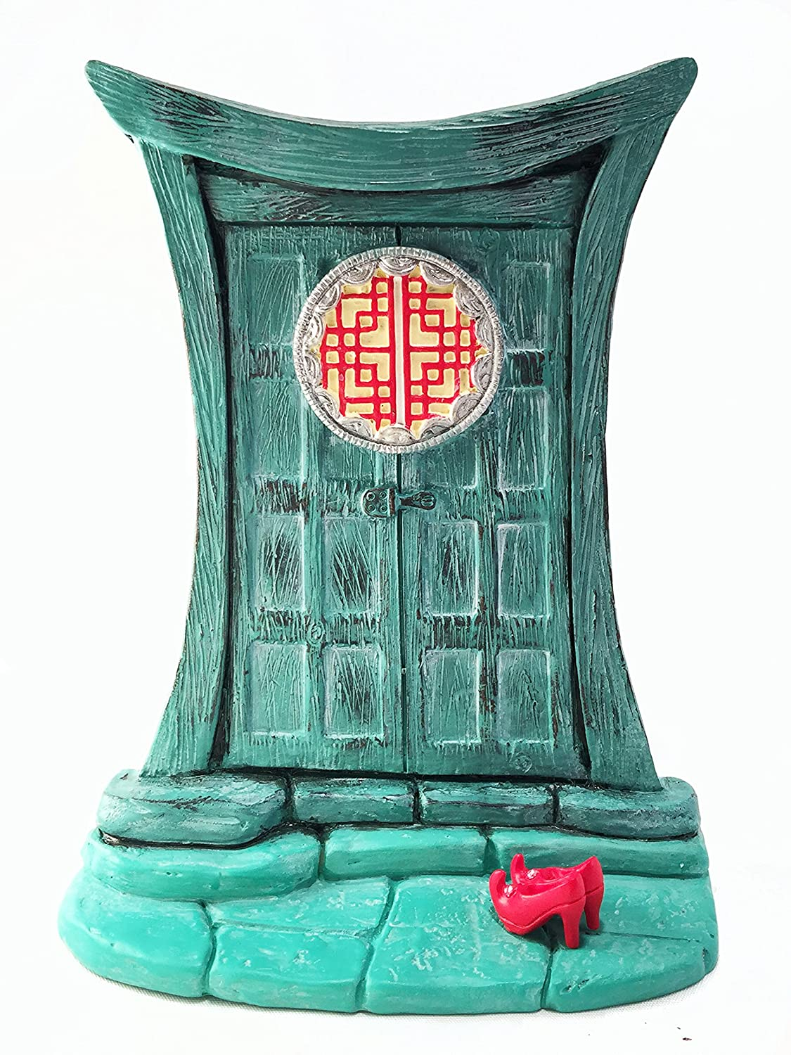 Miniature Zen Fairy Door for Miniature Garden Fairies and Gnomes - Beautiful Turquoise Asian-Style Zen Fairy Miniature Door with Removable Red Fairy Shoes GlitZGlam