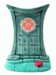 Miniature Zen Fairy Door for Miniature Garden Fairies and Gnomes - Beautiful Turquoise Asian-Style Zen Fairy Miniature Door with Removable Red Fairy Shoes