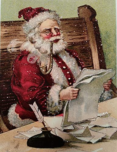 Amazon Com Set Of 3 Glittered Christmas Cards Santa Is Checking