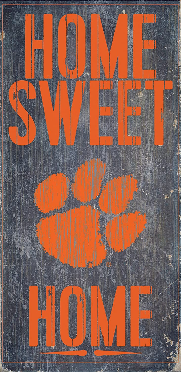 "Fan Creations Clemson Tigers Wood Sign - Home Sweet Home 6""x12"""