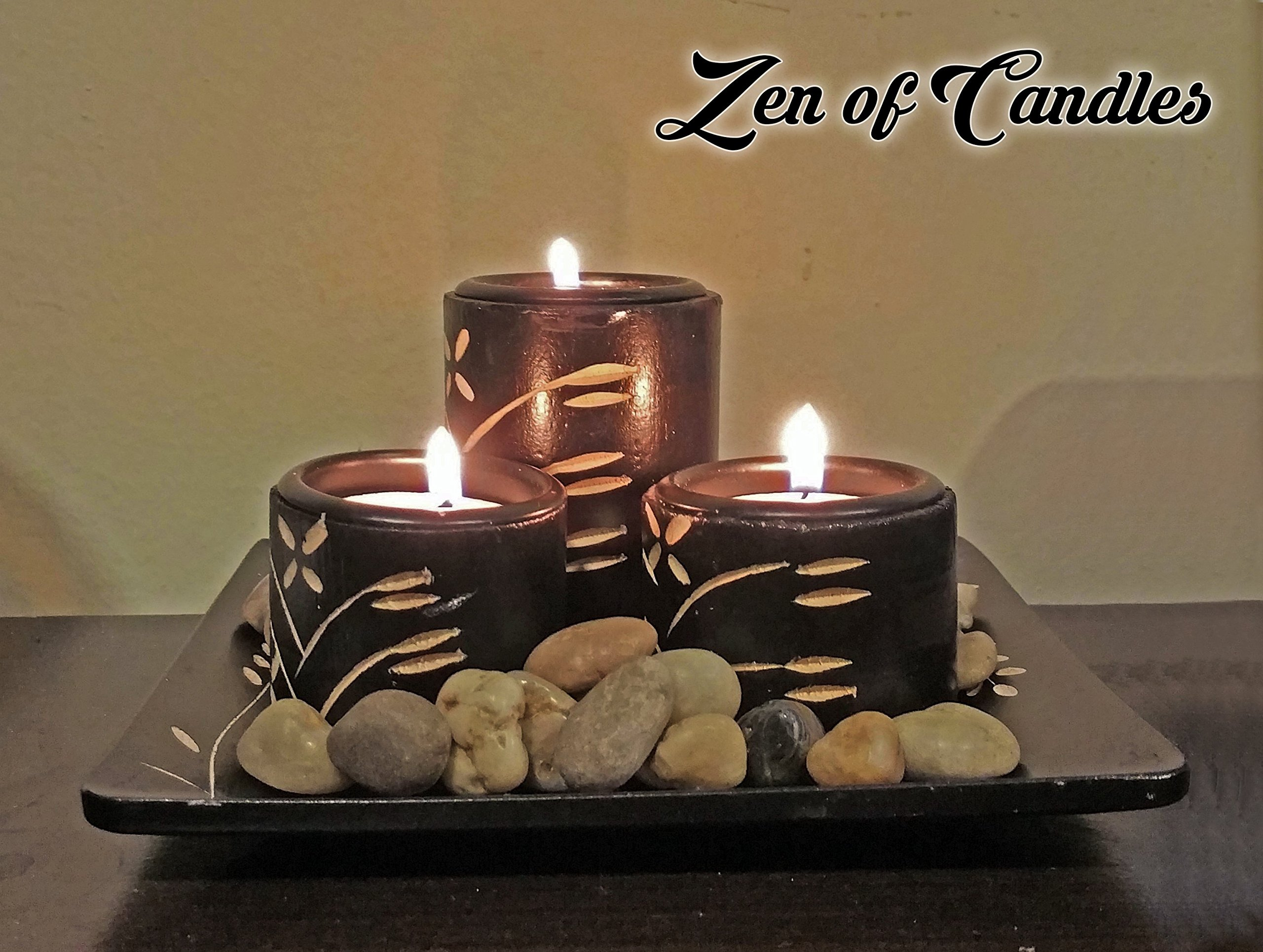 Zen Candle Set with 3 Candles and River Rocks for Decor & Meditation