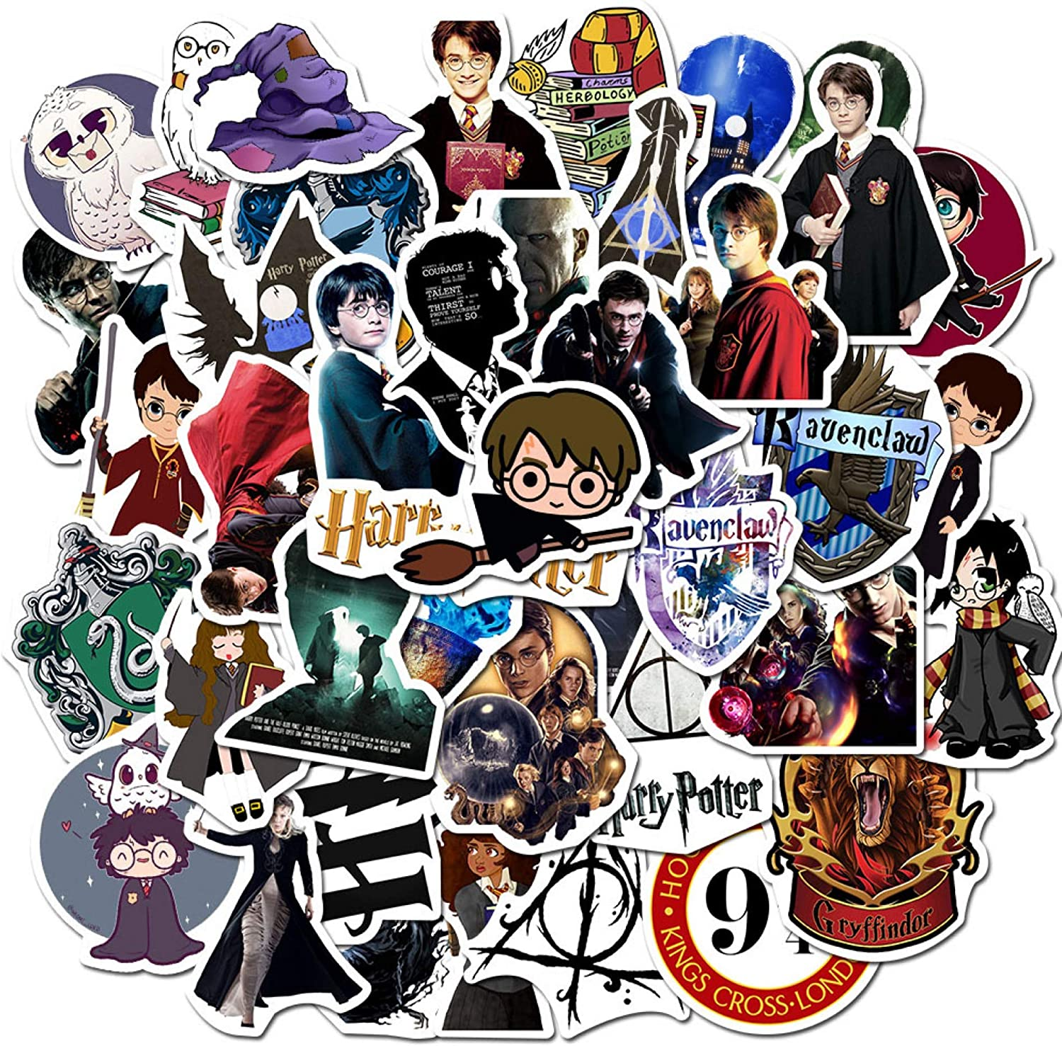 Magical Potter Waterproof Stickers of 50 Vinyl Decal Merchandise Laptop Stickers for Laptops, Computers, Hydro Flasks, Skateboard and Travel Case