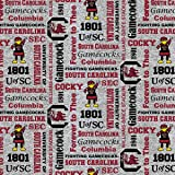 South Carolina Gamecocks Fleece Blanket Fabric with Verbiage on Heather Ground-Sold by The Yard Verbiage Heather Fleece Fabri