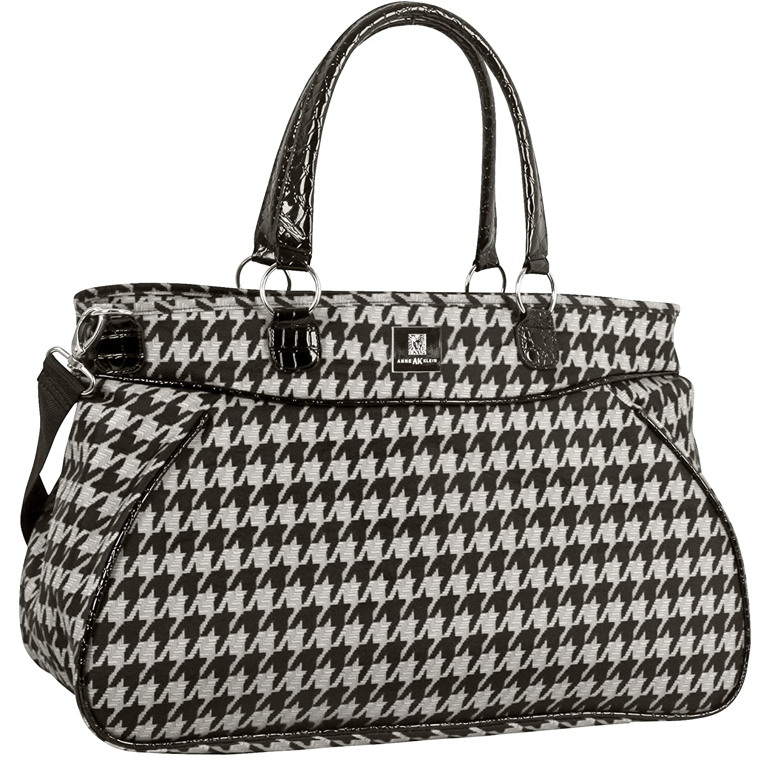 Anne Klein Boston 13 Inch Tote Bag, Black/Grey Houndstooth, One Size RAO4D 2768C05