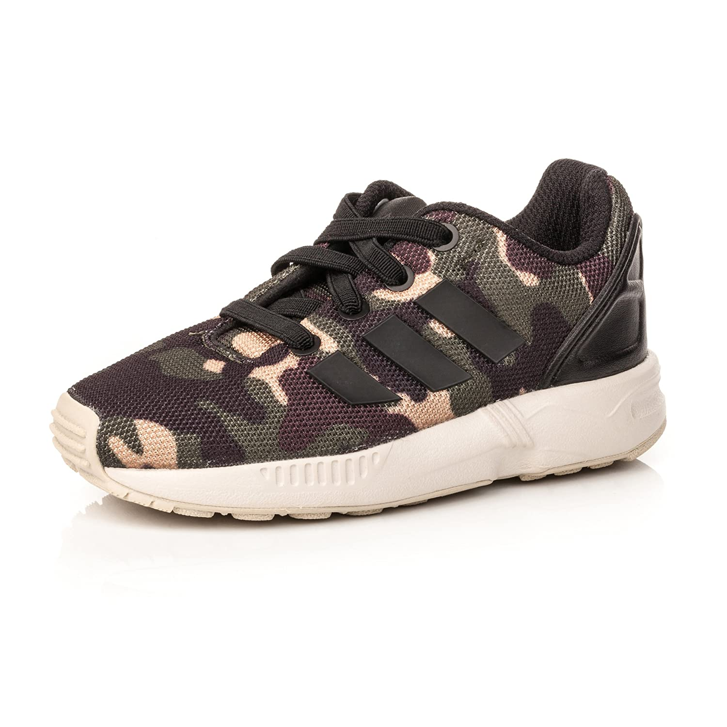 new concept a3f21 97395 adidas Boys Original Zx Flux Camo Trainers Black-Elastic Laces-Cushioned  Collar  Amazon.co.uk  Shoes   Bags