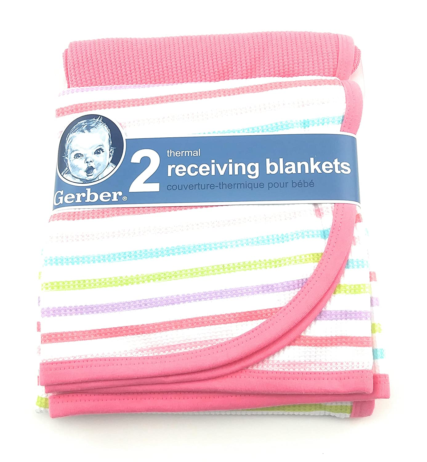 Gerber 2 Pack Pink Cotton Thermal Receiving Blankets