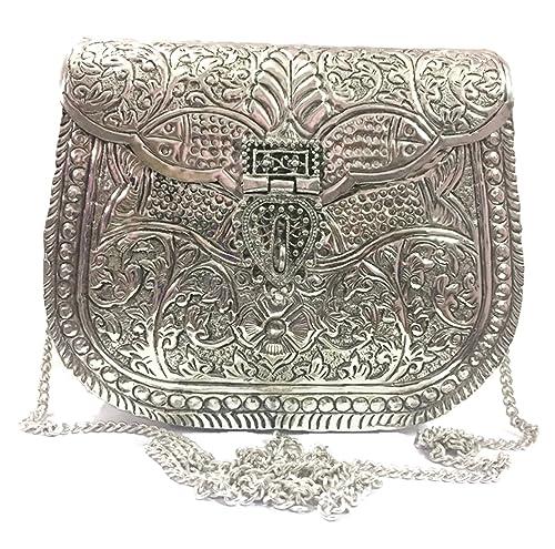 Bolso para mujer fiesta embrague embragues de metal blanco Vintage hecho a mano de metal bolso de latón antiguo embrague de mano: Amazon.es: Zapatos y ...