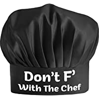 Funny Chef Hat - Don't F with The Chef - Adjustable Kitchen Cooking Hat for Men & Women Black