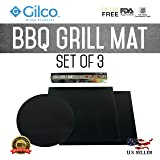 BBQ Grill Mat - Set of 3 - Easy Barbeque Grilling Bake Non-Stick Mats - Made For Charcoal, Electric and Gas Grills - Grill Chicken, Fish, Veggies, Eggs, Steaks, Shrimp, Pizza and Grilled Cheese