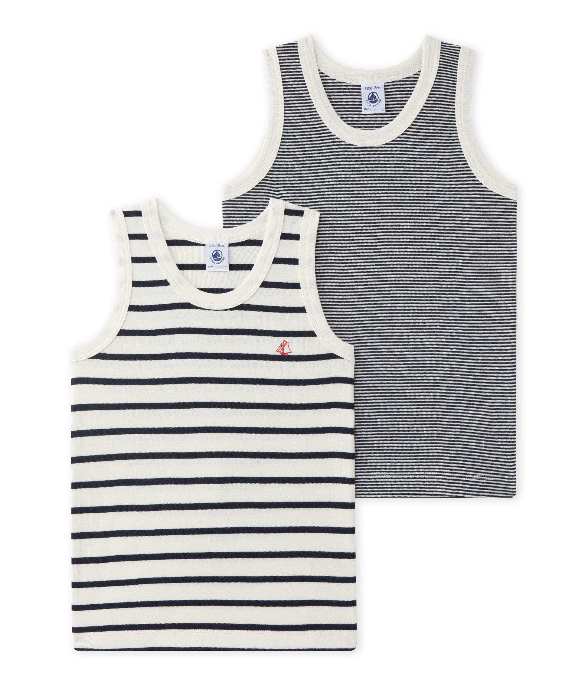 Petit Bateau Boys Undershirts 2 Pk Denim Color /& Red Color Sizes 2-14 Style 12070