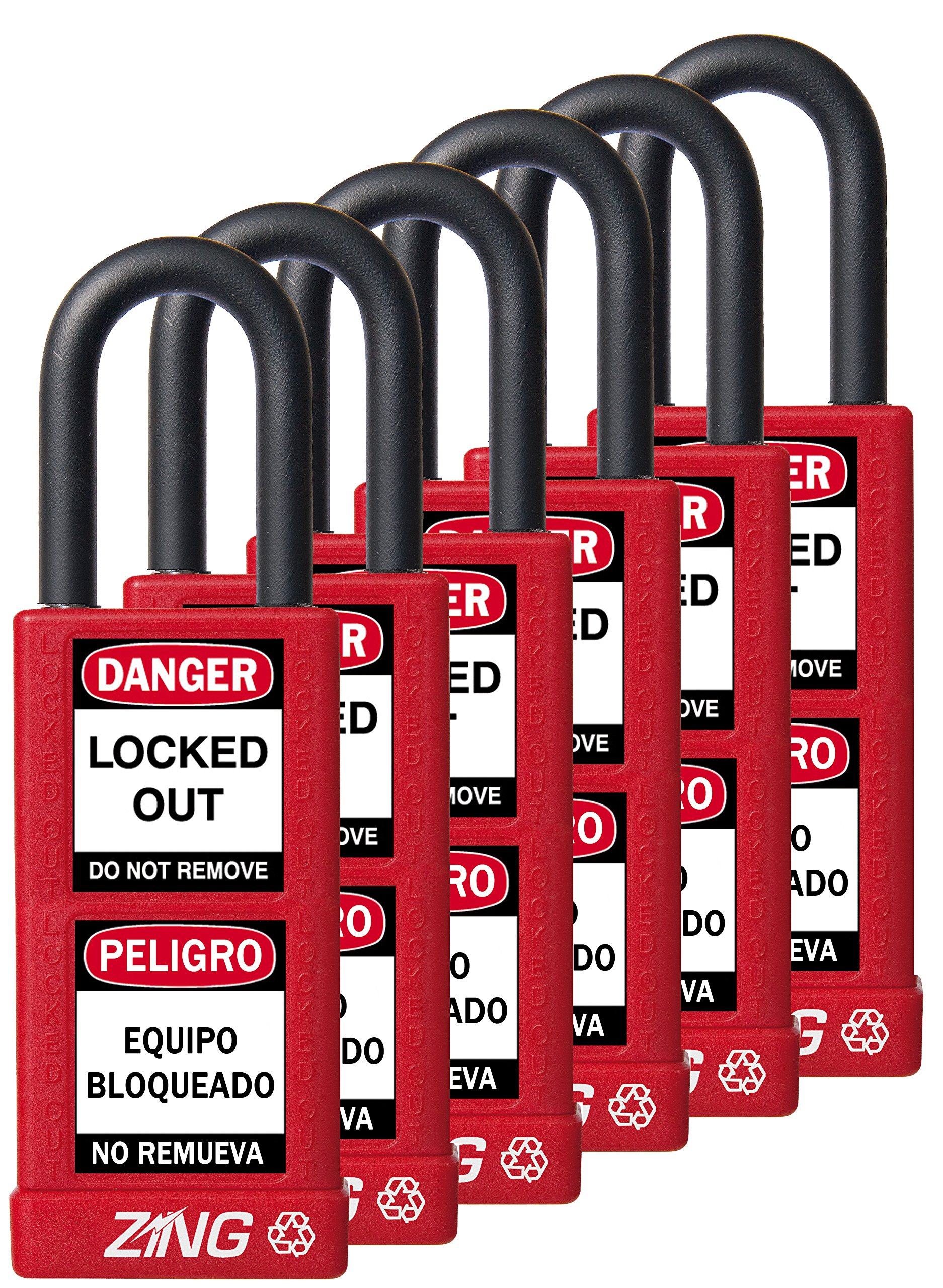 ZING 7087 RecycLock Safety Padlock, Keyed Alike,1-1/2'' Shackle, 3'' Long Body, Red, 6 Pack