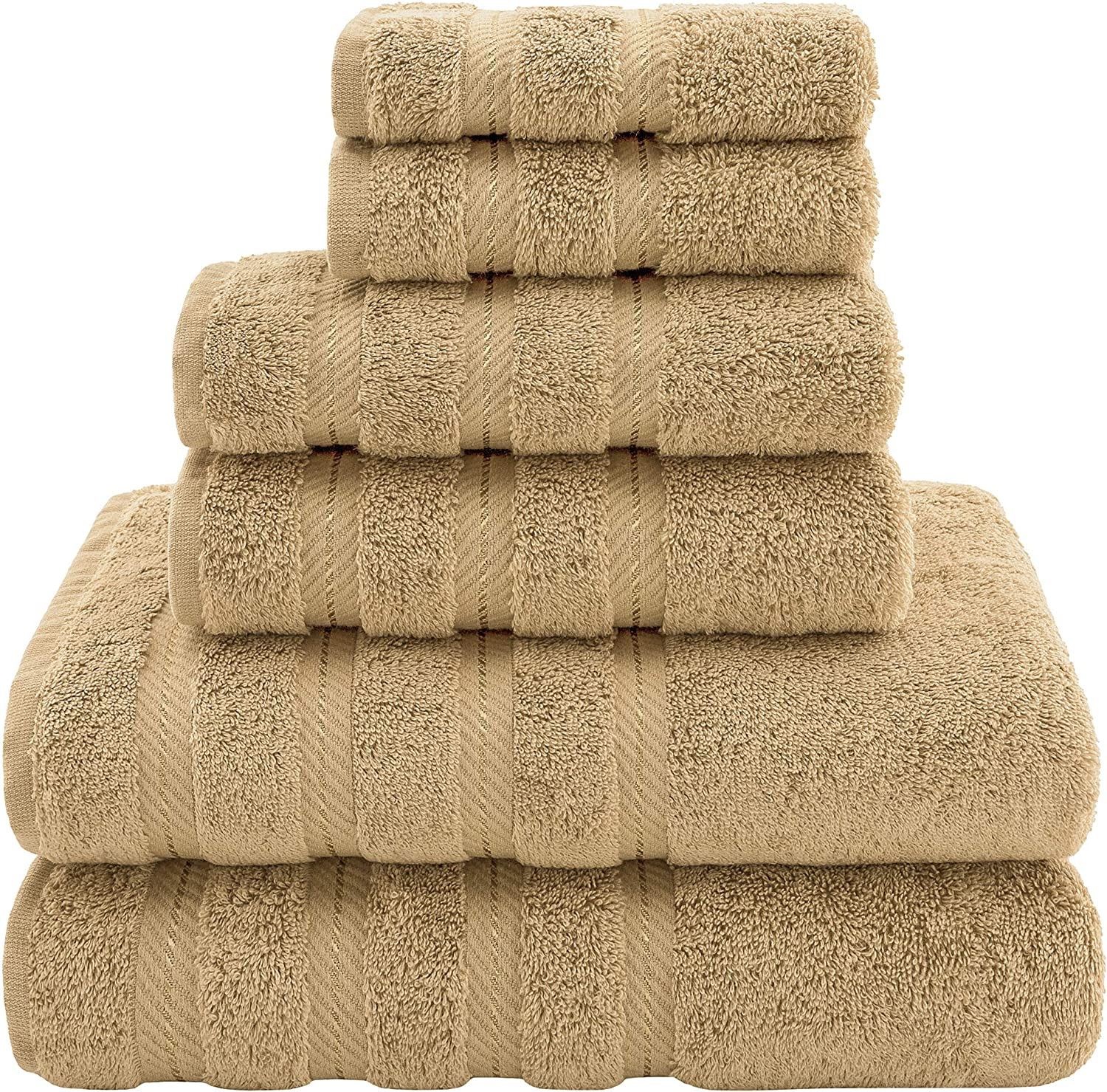 American Soft Linen Premium, Luxury Hotel & Spa Quality, 6 Piece Kitchen & Bathroom Turkish Genuine Cotton Towel Set, for Maximum Softness & Absorbency, [Worth $72.95] Sand Taupe