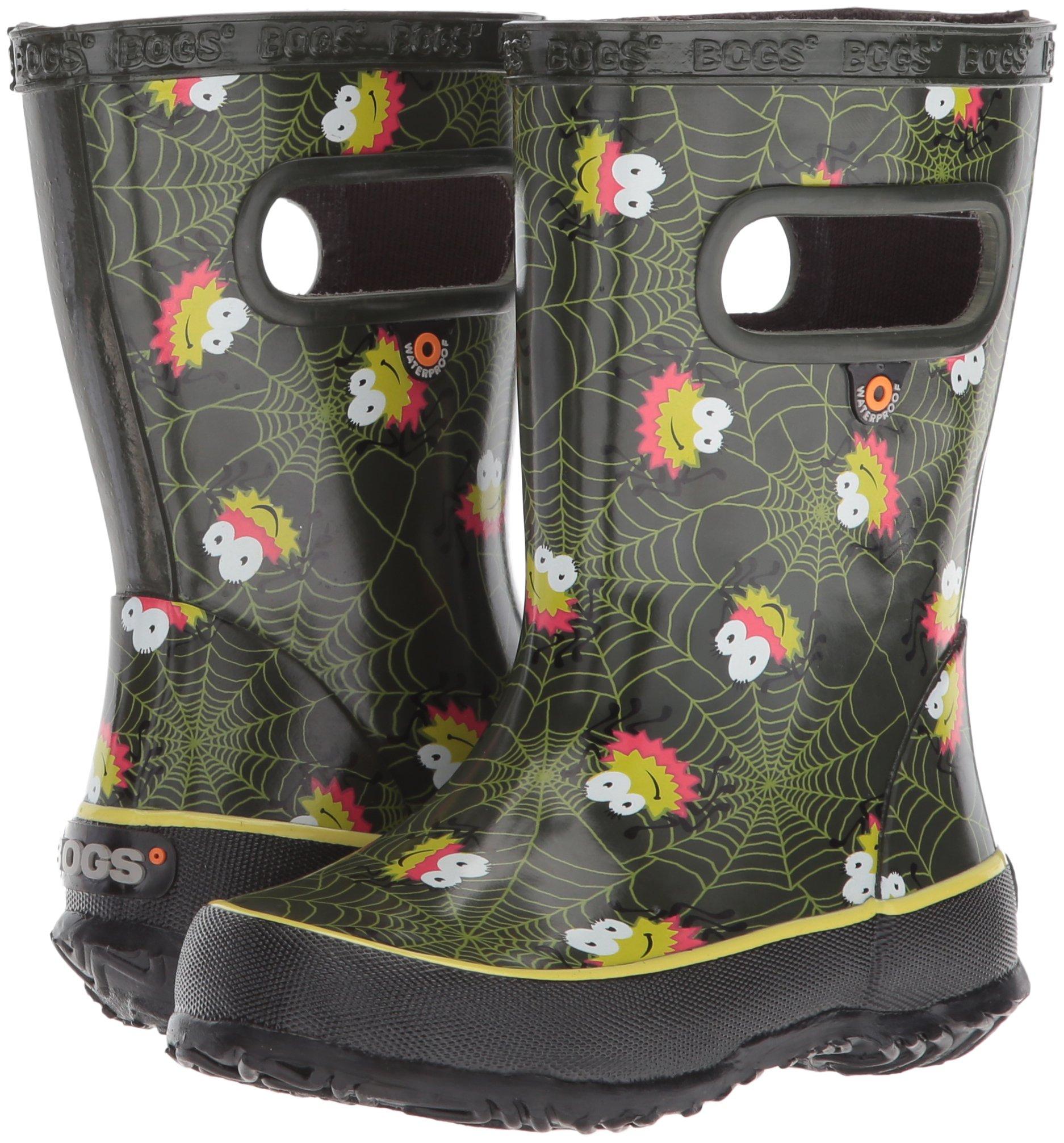 Bogs Kids' Skipper Waterproof Rubber Rain Boot for Boys and Girls,Smiley Spiders/Dark Green/Multi,11 M US Little Kid by Bogs (Image #6)