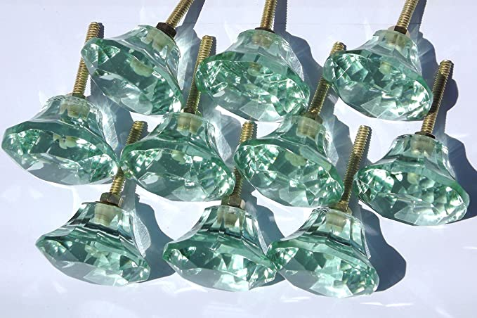Cupboard Door Knob or Drawer Pull handle Small Cut Glass Mint Green Blue Green