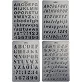 Bilipala Plastic Number and Letter Stencils Templates Set for Painting and Crafts, Set of 4