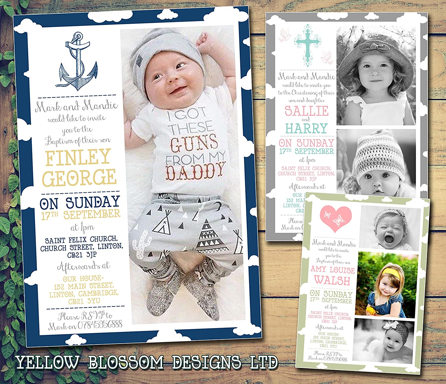 Personalised Christening Naming Ceremony Confirmation Baptism Invitations Printed Invites Boy Girl Joint Party Twins Unisex Photo Card 5 10 20 30 40 50 60 70 80 90 100