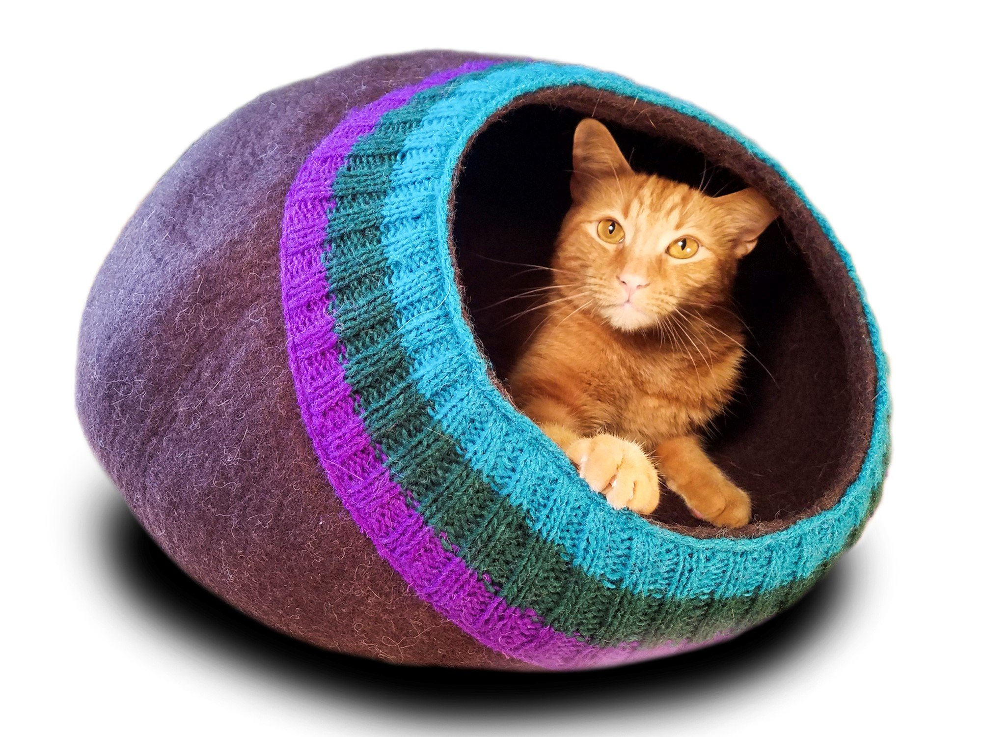 Meowfia Premium Felt Cat Cave (Large) - Eco-Friendly 100% Merino Wool Cat Bed - Soft and Comfy Beds for Large Cats and Kittens (Dark Brown with Knitting)