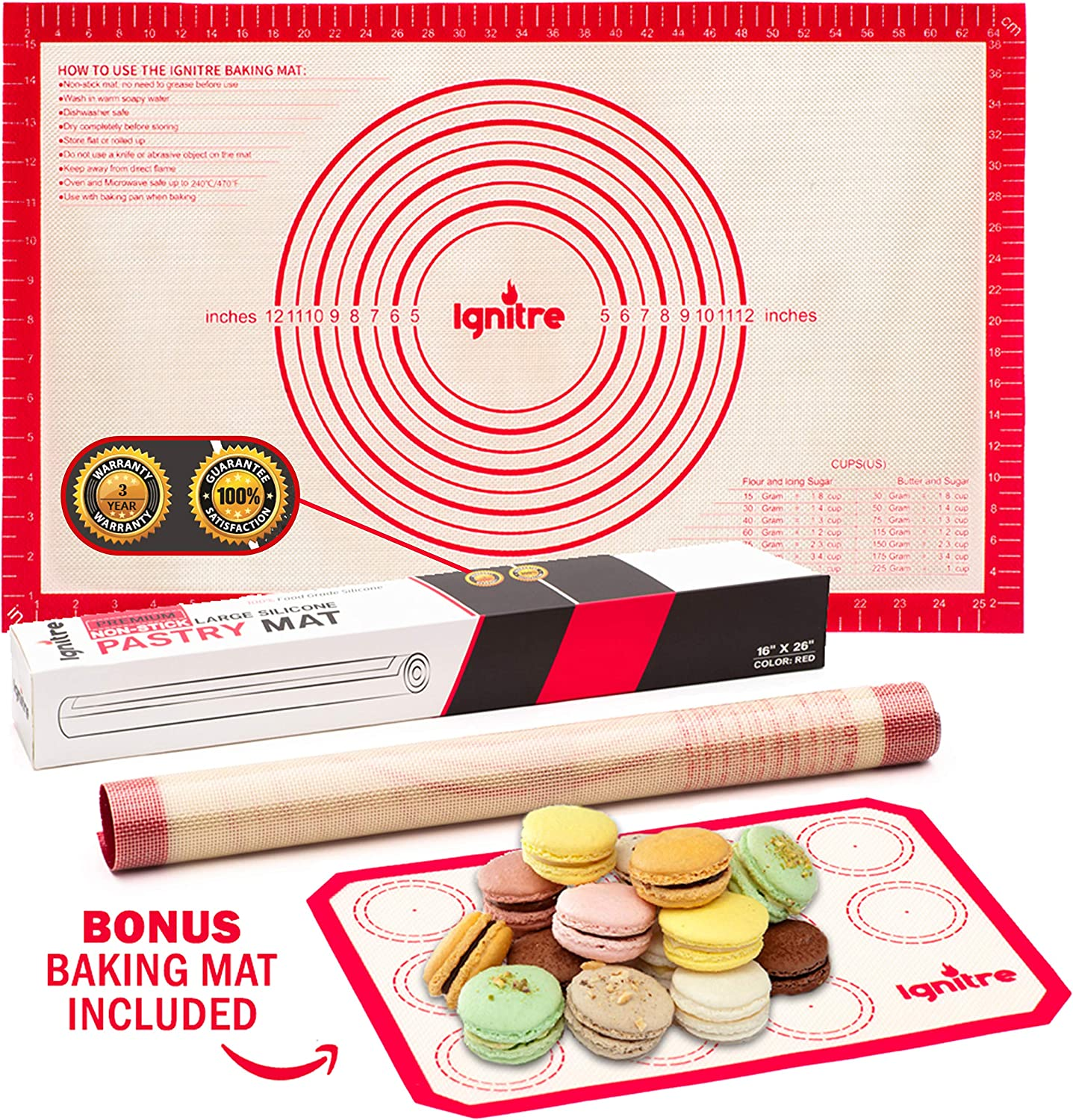 """Extra Large Silicone Pastry Mat and Baking Sheet - Non Stick Thick Non-slip Reusable Mats with Measurements   Uses - Rolling Fondant   Dough   Oven Liner   Counter mat   Macaroon   Pie Crust 16"""" x 26"""""""