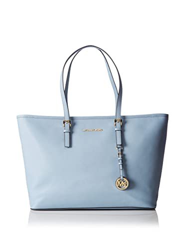 9faa884545bb Michael Kors Jet Set Travel Medium Top Zip Multifunction Tote in Pale Blue  Leather