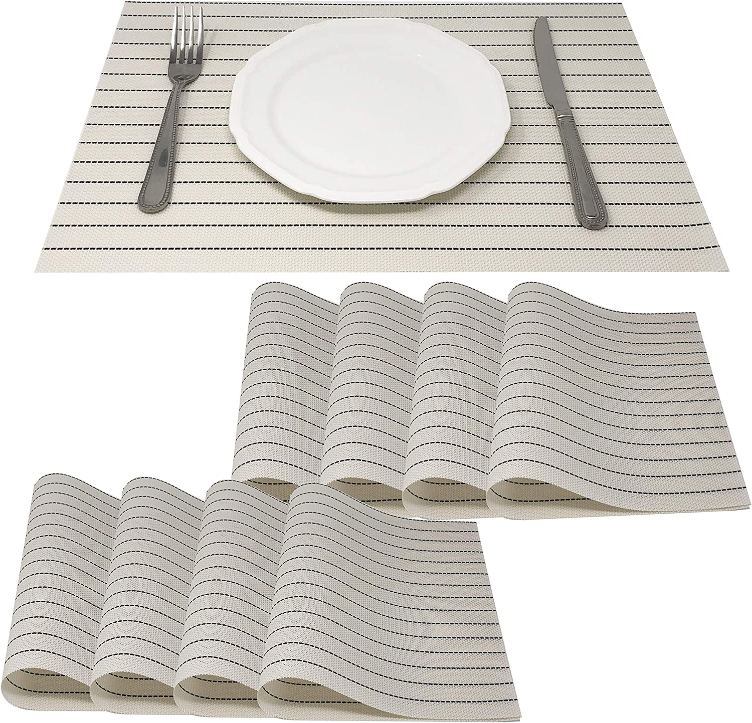 Amazon Com Allgala 8 Pack Dining Table Pvc Placemat Set Protect Table From Heat Stain Scratch And Anti Skid Style Black Stripe On White Hd80204 Home Kitchen