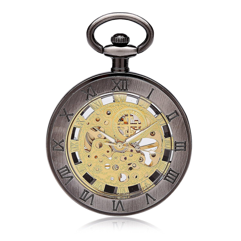スケルトンWatchesスチームパンク懐中時計ブロンズクラシックヴィンテージMechanical Pocket Watch B01GY9B0YA
