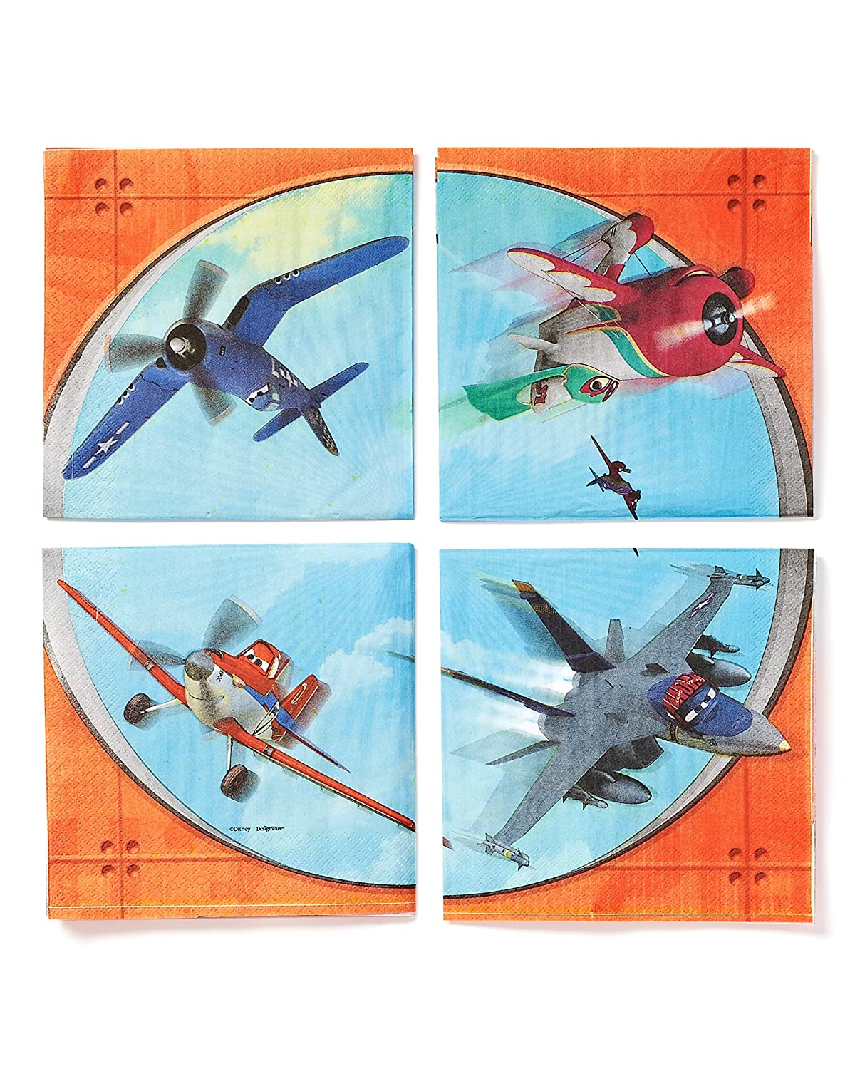 Disney  Planes 2 Birthday Party Luncheon Napkins 6 X 6 Pack Of 16 Paper 6 X 6 American Greetings- Toys 511378 Blue//Orange