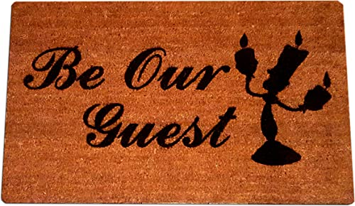 Beauty and The Beast Lumiere Be Our Guest Welcome Laser Engraved Coir Fiber Doormat 30 x 18