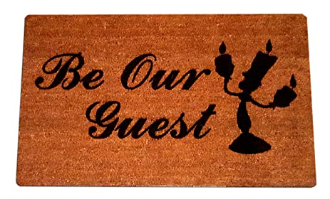 Disney Beauty And The Beast Lumiere Be Our Guest Welcome Laser Engraved Coir Fiber Doormat 30