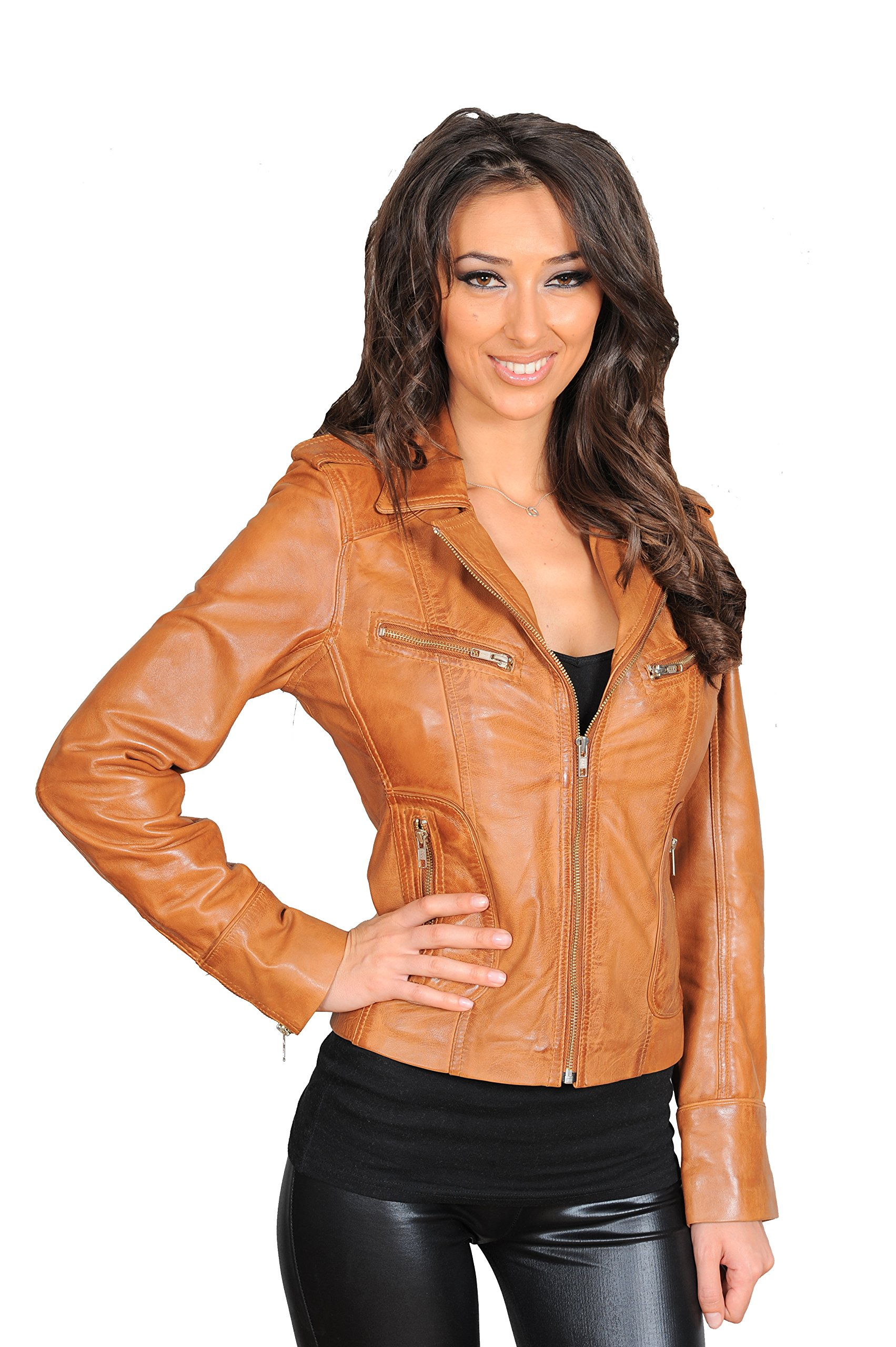 Womens Slim fit Tan Real Leather Jacket Biker Style Zip Coat Betty (Medium) by A1 FASHION GOODS
