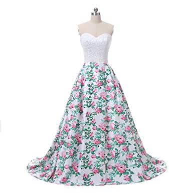 Yikaya Womens Floral Prom Dresses with Pearls A Line Long Evening Formal Gowns at Amazon Womens Clothing store: