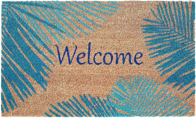 Liora Manne Natura Tropical Palm Border Blue Outdoor Welcome Coir Door Mat, 2' x 3'