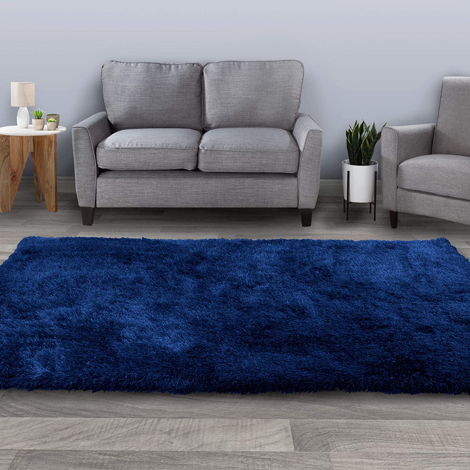 Bedford Home Shag Area Rug-8x10 Plush Throw Carpet-Cozy Modern Design-Solid Color Floor Covering for Home, Living Room, Bedroom & Office, 8'x10', Navy Blue