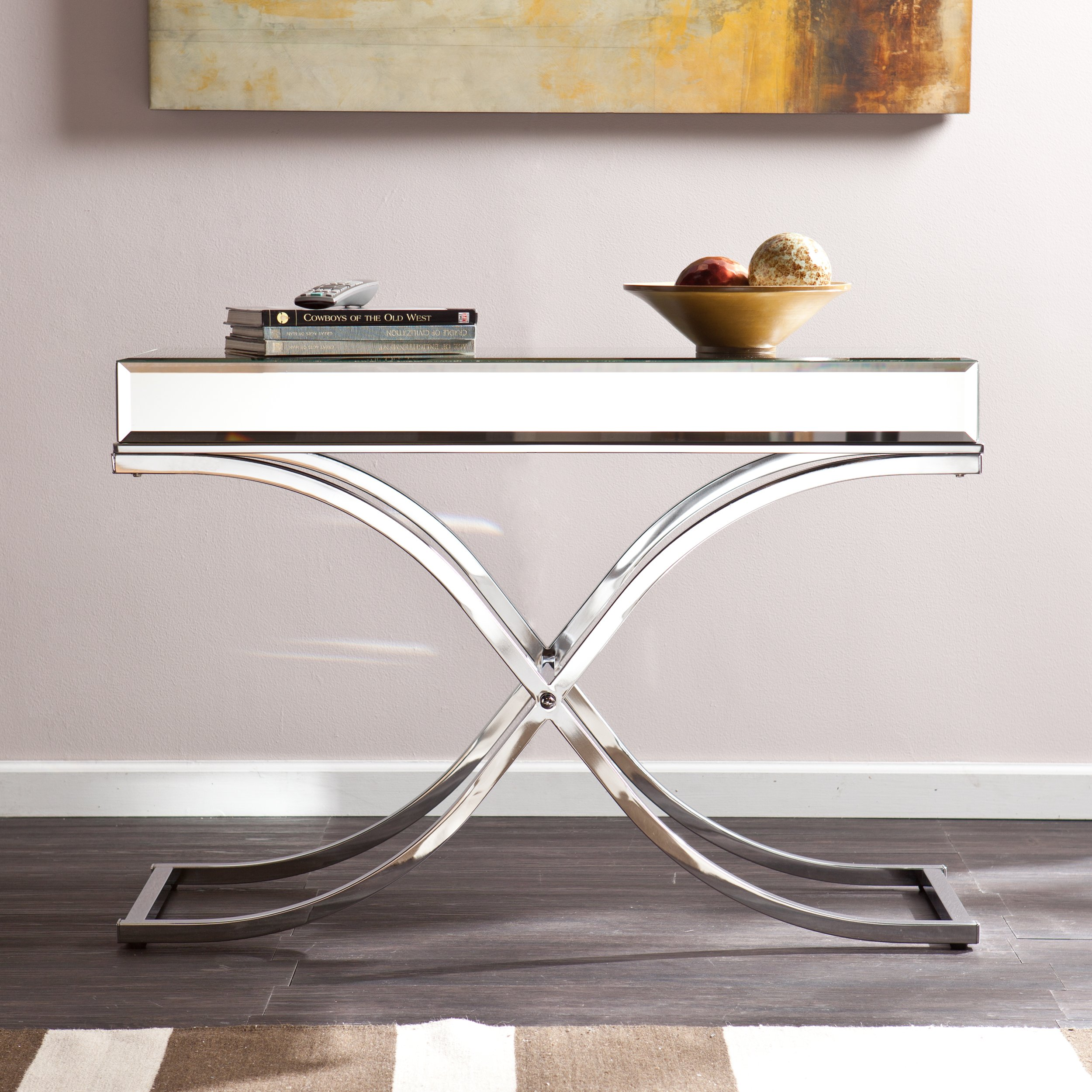 Ava Mirrored Console Table - Chrome Frame Finish - Contemporary Glam Style by Southern Enterprises