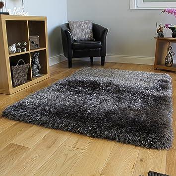 Dark Gray Charcoal Shaggy Shag Area Rug 8x10u0027 High End Designer Quality  Flokati High Pile