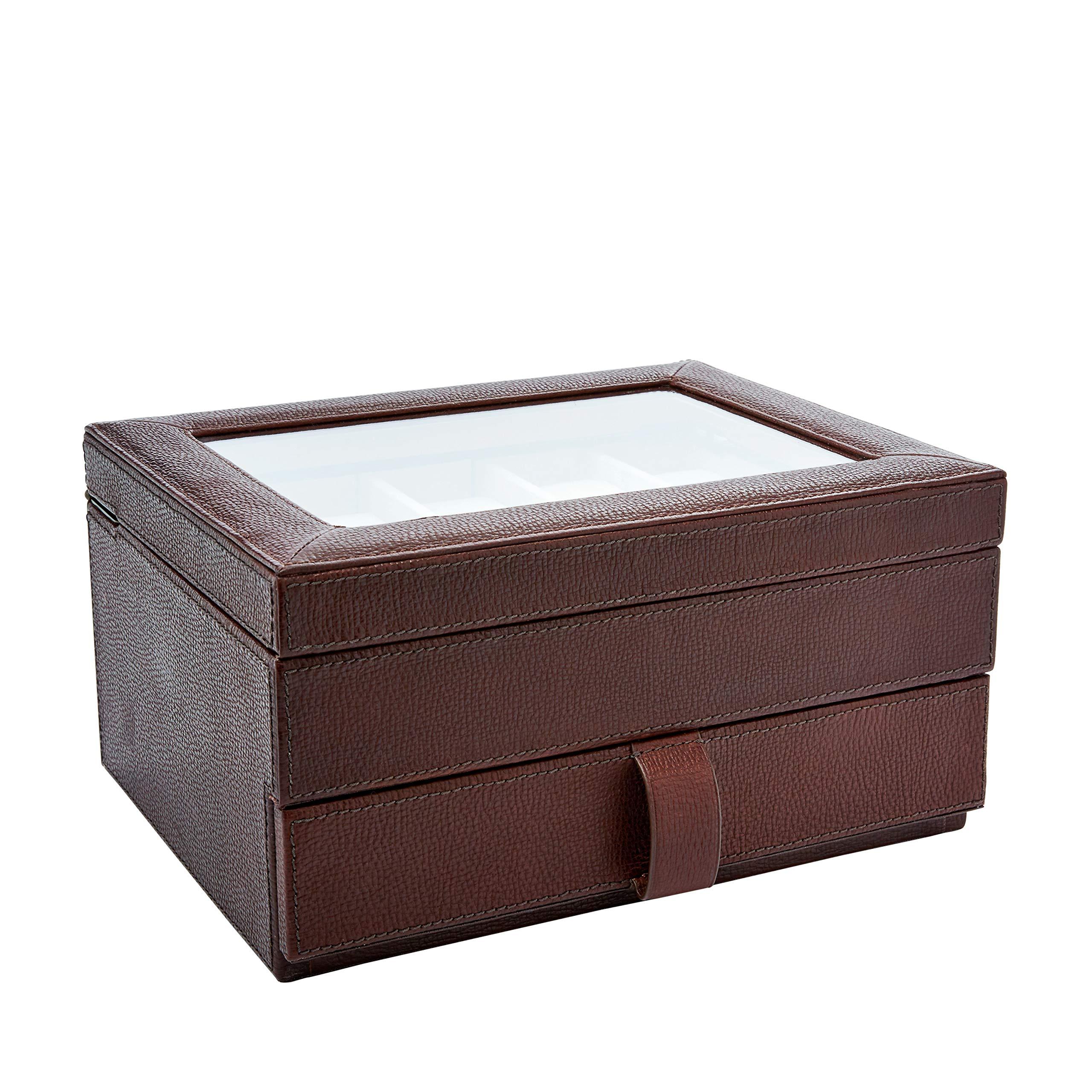 Fossil Men's Ten-Piece Watch Box Dark Brown, 10.6'' L x 8.4'' W x 5.4'' H