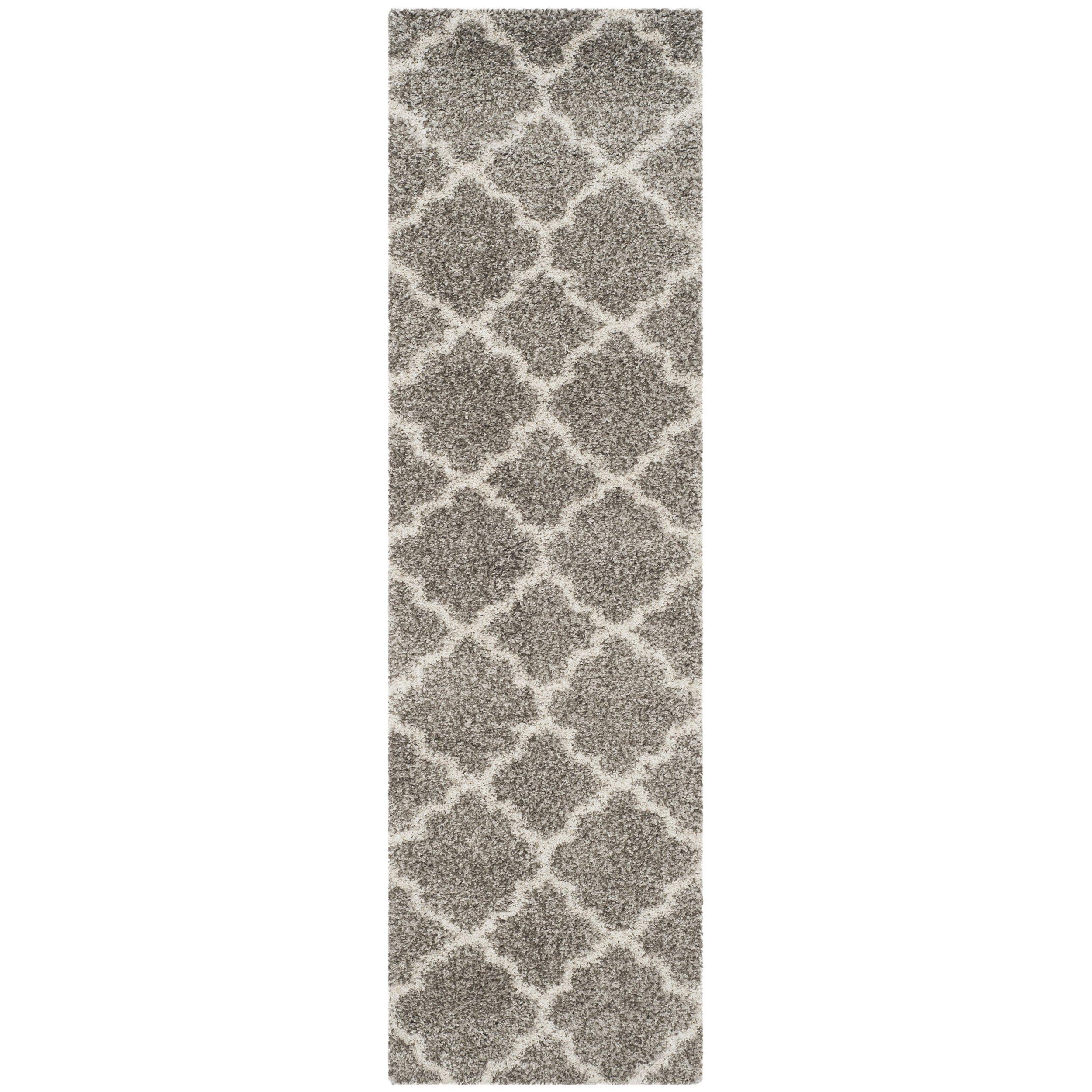 Safavieh Hudson Shag Collection SGH282B Grey and Ivory Runner, 2'3'' x 14' by Safavieh