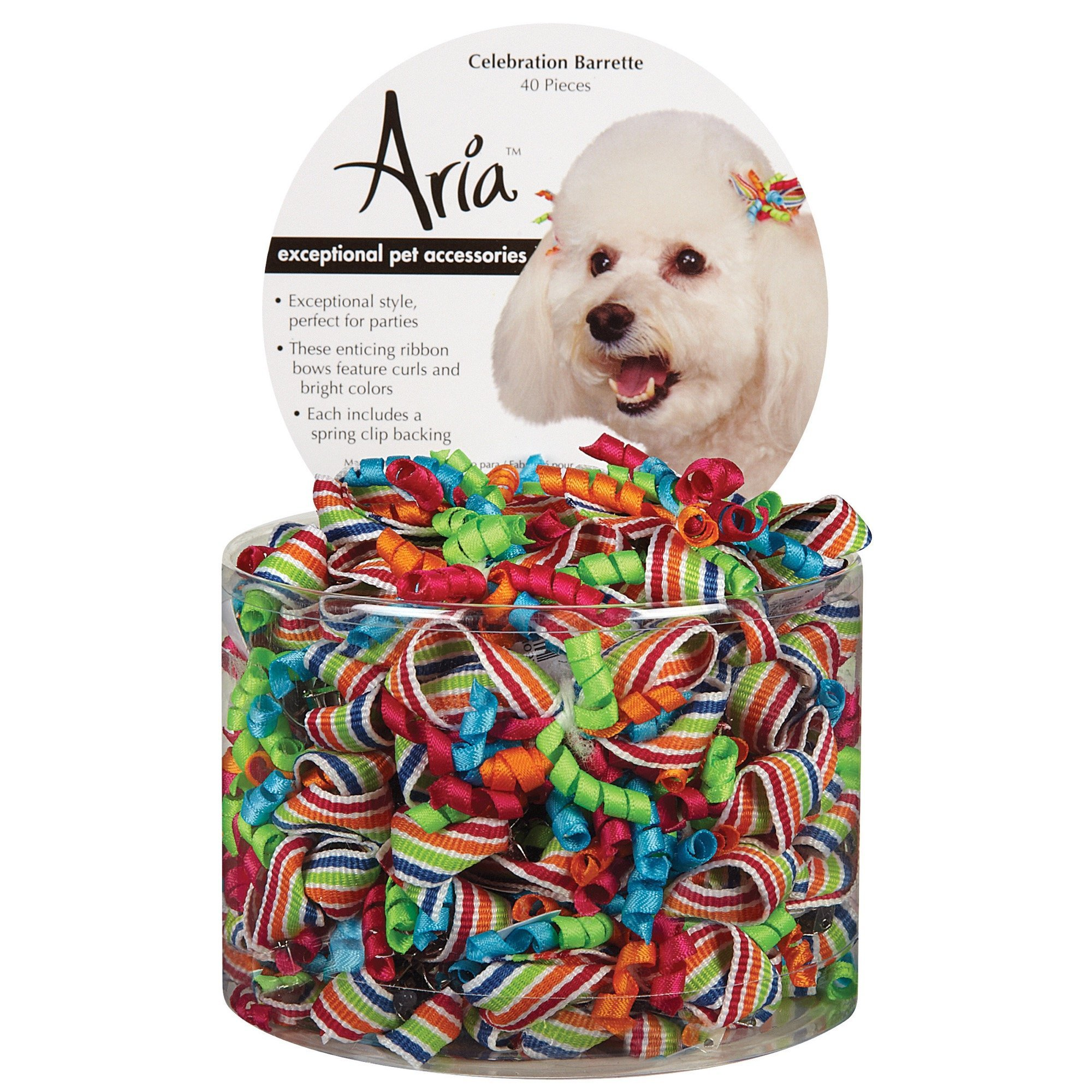 Aria Celebration Barettes for Dogs, 40-Piece Canisters by Aria