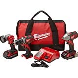 Milwaukee 2691-23 M18 18-Volt Lithium-Ion Cordless Compact Drill/Impact Wrench/Light 3-Tool Combo Kit