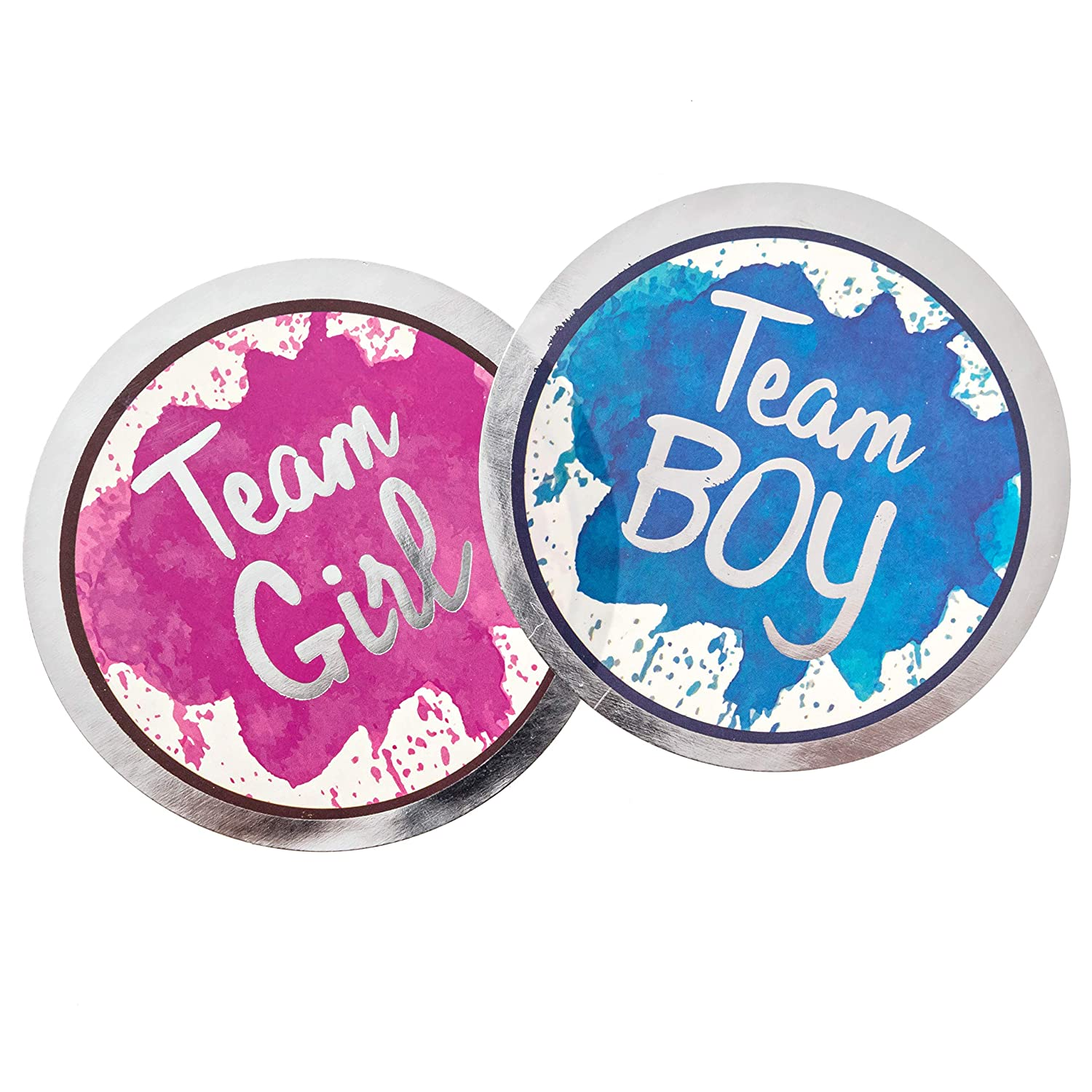 Gender Reveal Stickers 25 Pink + 25 Blue Team Boy and Team Girl Vote Stickers Decorations Ideas Baby Shower Party Supplies Pink /& Blue Sticker Set