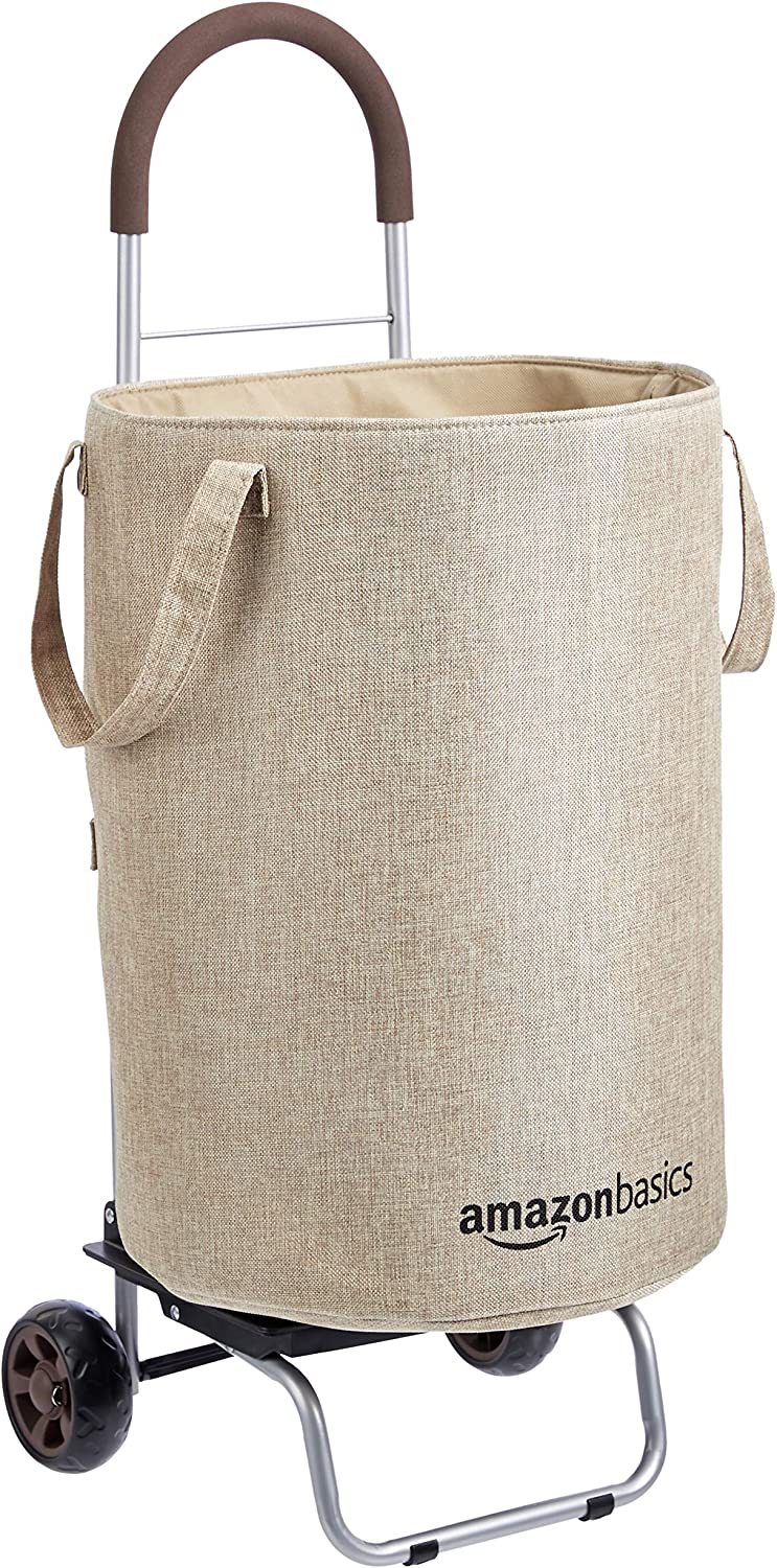 AmazonBasics Rolling Laundry Hamper Cart Converts into Dolly, 36 inch Handle Height, Beige