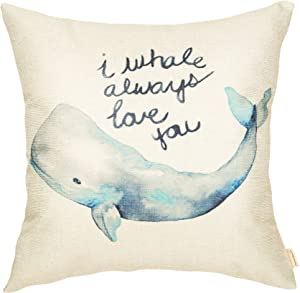 Fahrendom Watercolor I Whale Always Love You Cute Lover Decoration Nursery Sign Décor Cotton Linen Home Decorative Throw Pillow Case Cushion Cover with Words for Sofa Couch 18 x 18 Inch