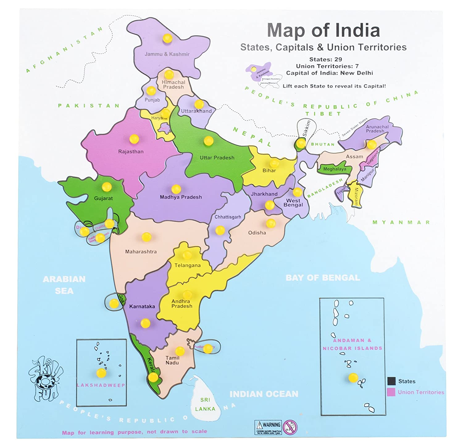 Buy Skillofun Wooden Map of India, Multi Color Online at Low Prices ...