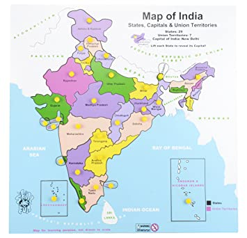 Skillofun Wooden Map of India, Multi Color