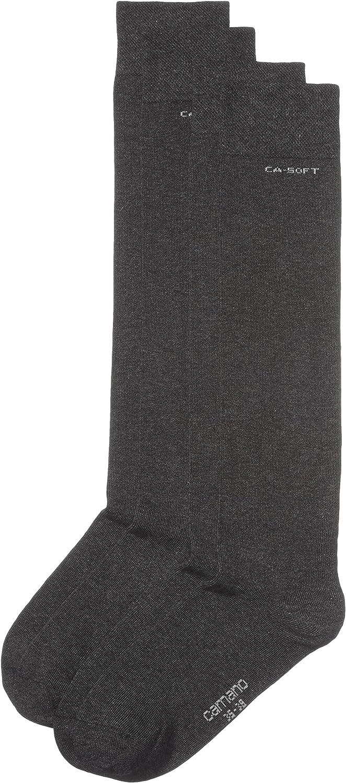 Camano Unisex 2er Pack Kniestr/ümpfe mit weichem Bund f/ür Erwachsene Socken aus Baumwolle