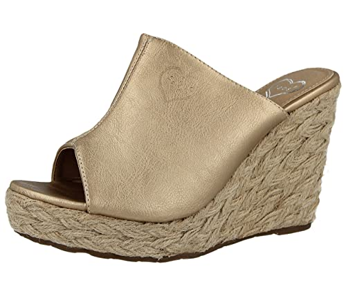 9e5e6d56bef Ladies Fabs Faux Leather Metallic Open Toe Raffia Wedge Slip On Mule Summer  Sandals Size 3